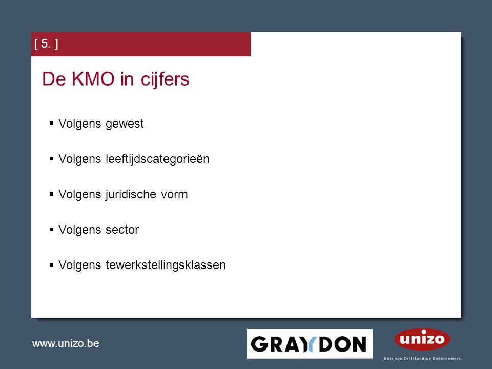 De KMO in cijfers [ 5. ] Volgens gewest Volgens leeftijdscategorieën